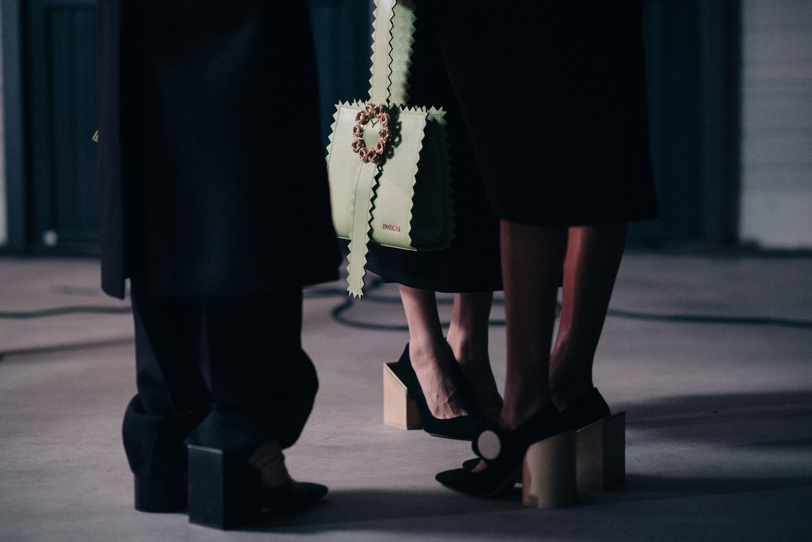Green Jacquemus bag with details