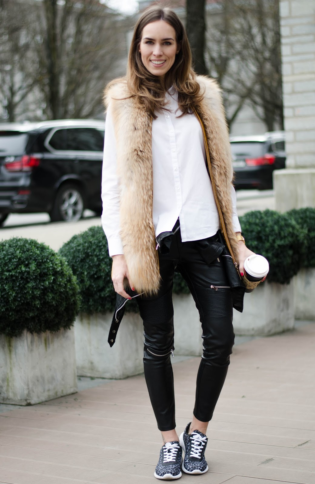 kristjaana mere fur vest leather pants casual spring outfit