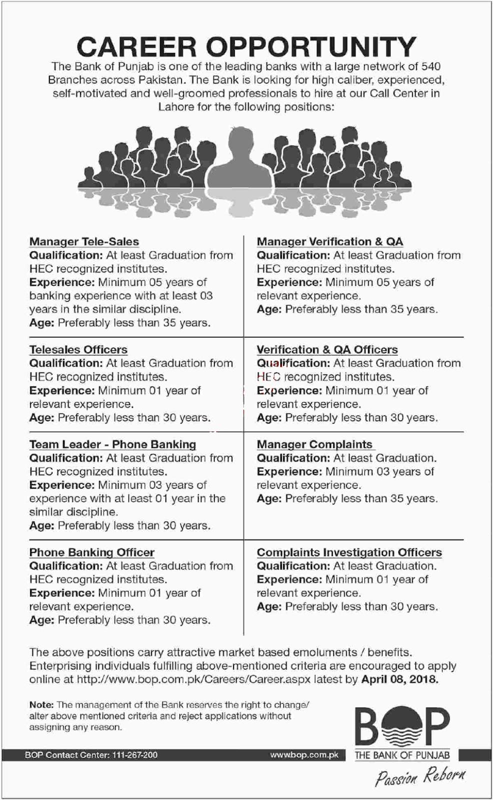 Bank of Punjab (BOP) Jobs 2018 for 500+ Telesales Officers ...
