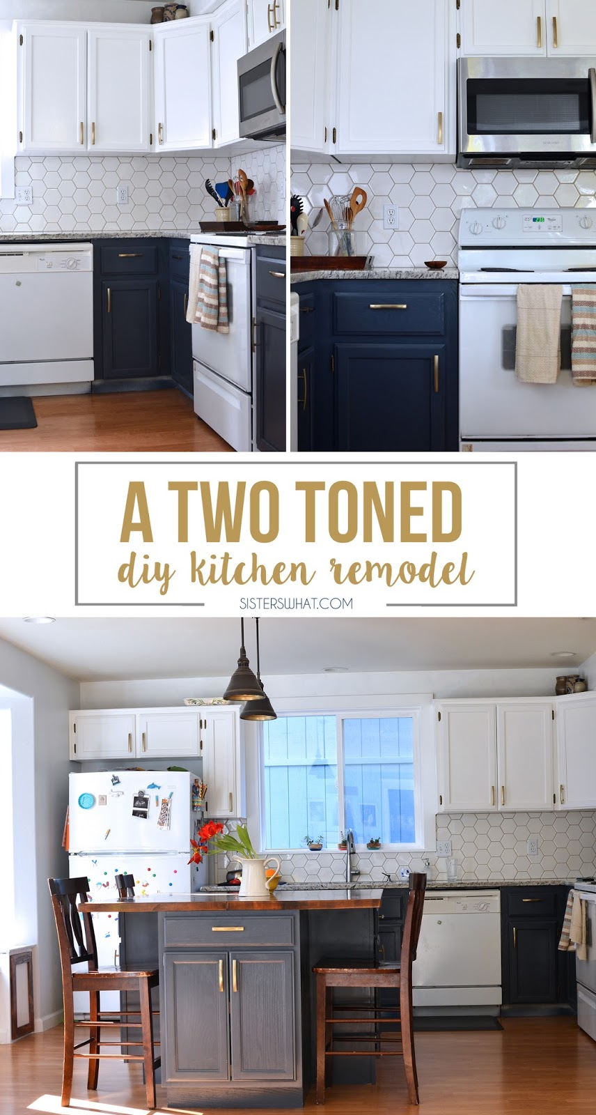 a two toned diy kitchen remodel