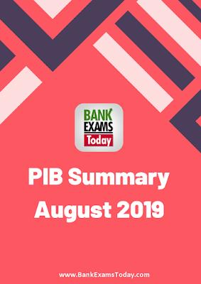 PIB Summary: August 2019