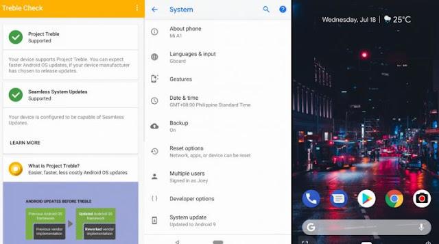 cara update android 9.0 P di Xiaomi Mi A1