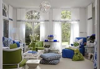 Decoración sala azul y verde
