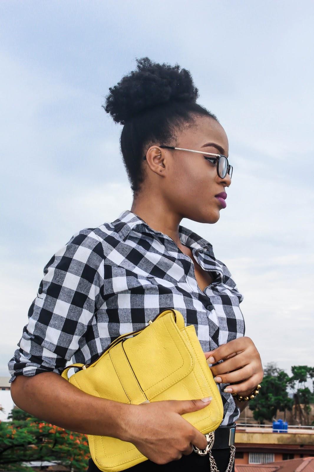 oncedarplanet, natural hair shrinkage, yellow saddle bag