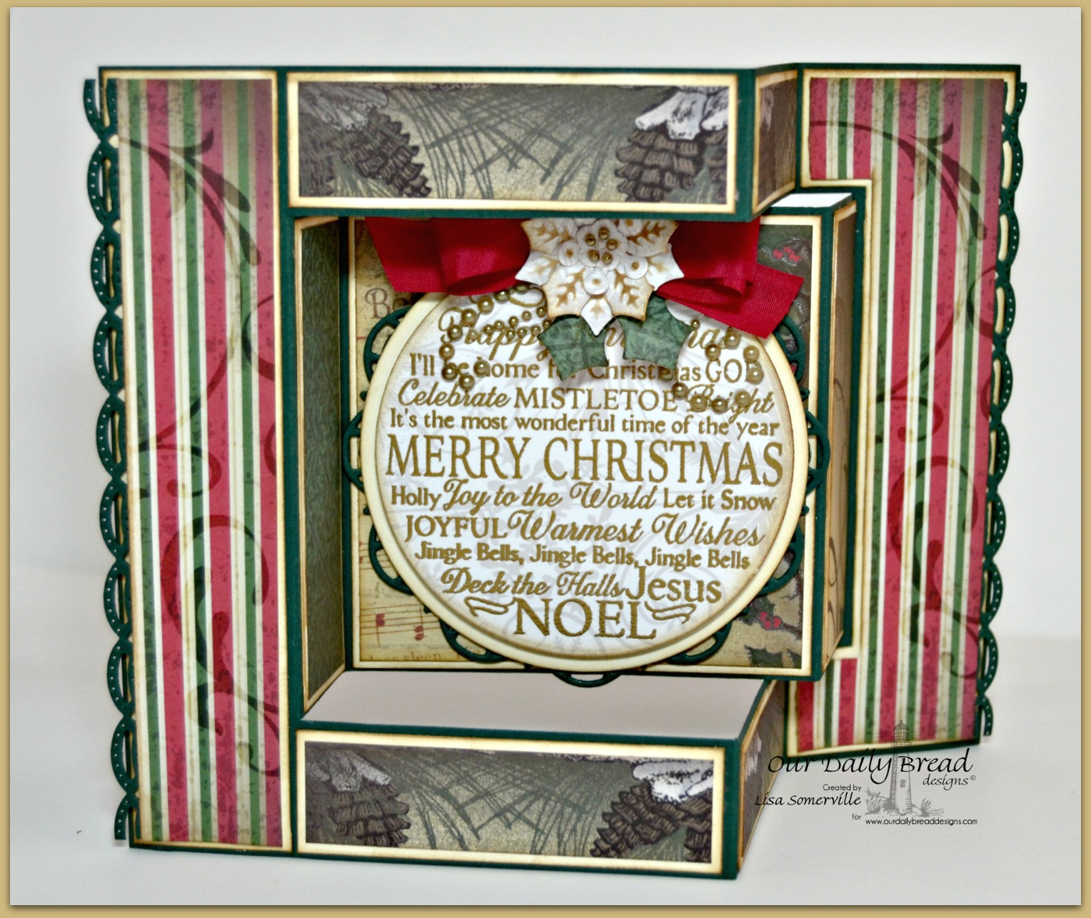 Stamps - Our Daily Bread Designs Noel Ornament, ODBD Custom Peaceful Poinsettias Dies, ODBD Custom Matting Circles Dies, ODBD Custom Circle Ornaments Dies, ODBD Custom Beautiful Borders Dies, ODBD Custom Doily Dies, Christmas Paper Collection 2013