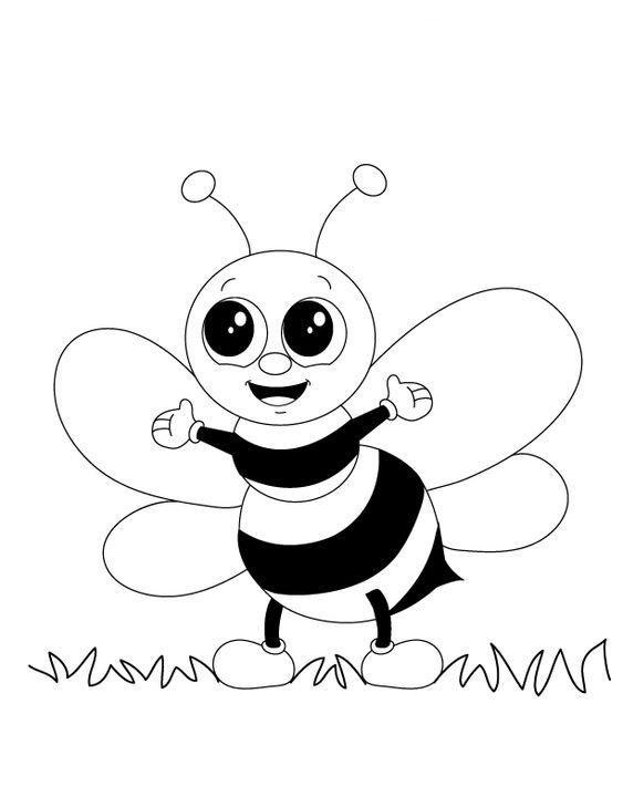 Tranh tô màu con ong dễ thương