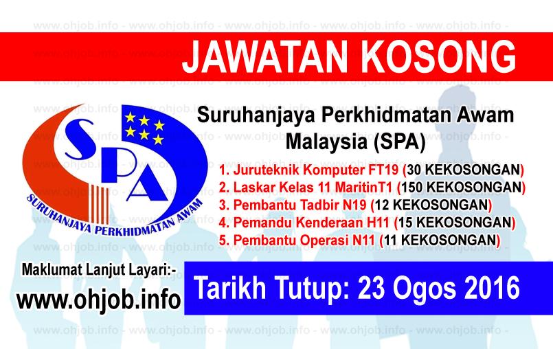 Jawatan Kerja Kosong Suruhanjaya Perkhidmatan Awam Malaysia (SPA8) logo www.ohjob.info ogos 2016