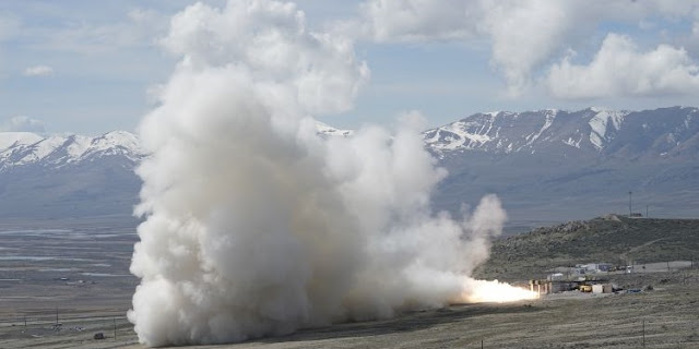 Northrop Grumman conducted the second ground test of its newly-developed GEM 63 rocket motor April 4, 2019, in Promontory, Utah. The GEM 63 will fly on United Launch Alliance's Atlas V launch vehicle starting next year.