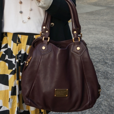 mustard pleated skirt Marc by Marc Jacobs Classic Q Carob brown fran bag | awayfromtheblue