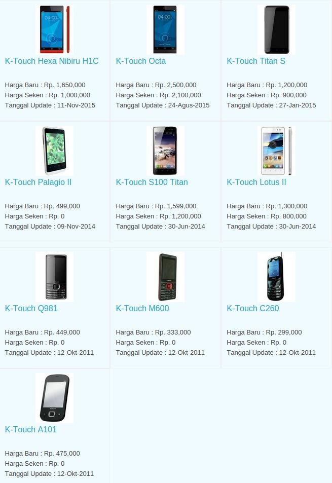 Daftar Harga Terbaru Hp K-Touch April 2016