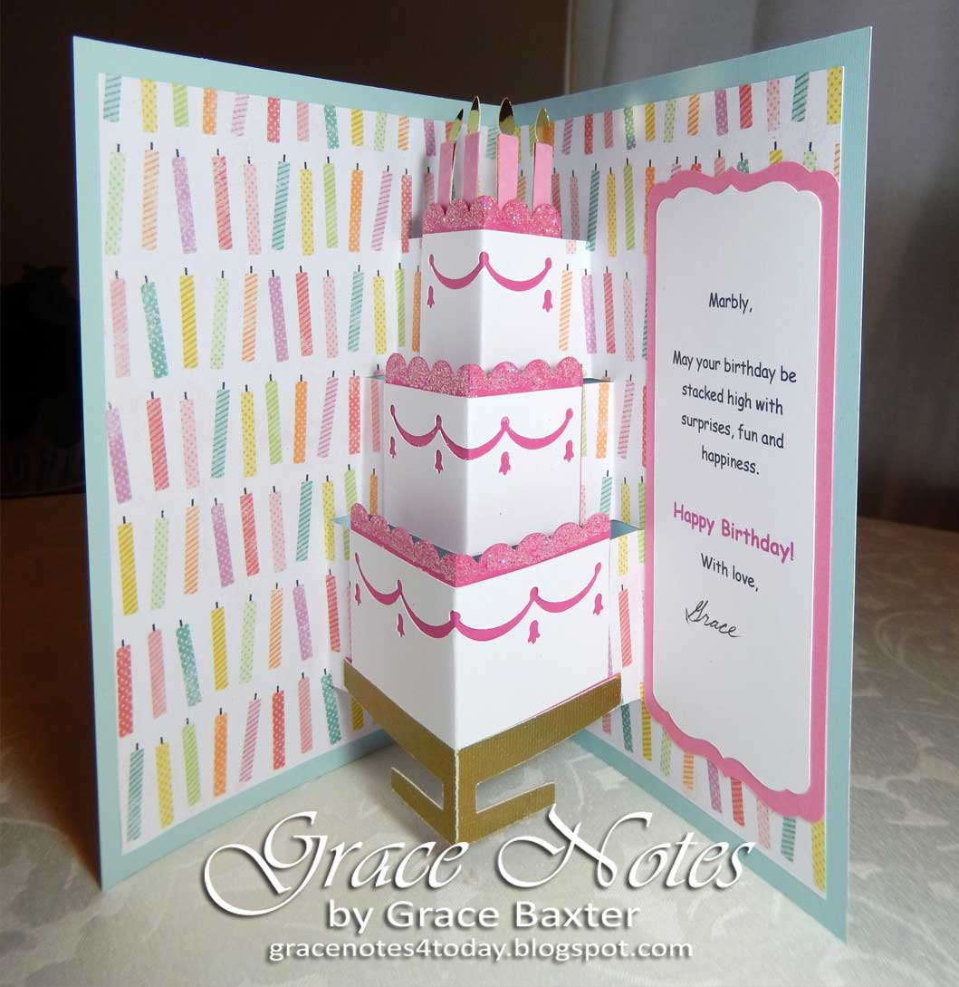 Grace Notes For Today Pop Up Birthday Cake Card