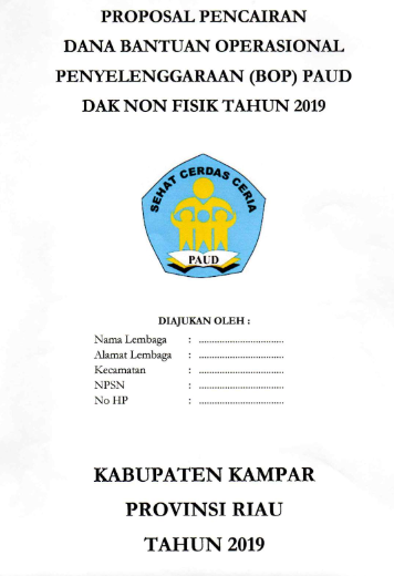 COVER Proposal Pencairan Dana BOP PAUD Tahun 2019