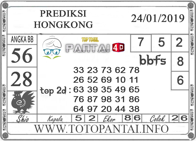 """Prediksi Togel """"HONGKONG"""" PANTAI4D 24 JANUARI 2019"""