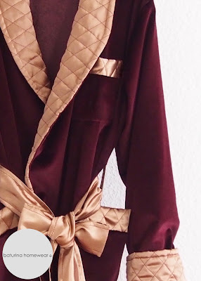 Man Modern Day Lined Smoking Jacket Short House Robe Lounging Dark Red Velvet Gold Quilted Silk Tailored