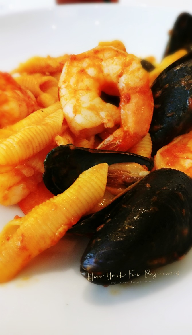 MAMO Restaurant Garganelli with Seafood review at New York For Beginners