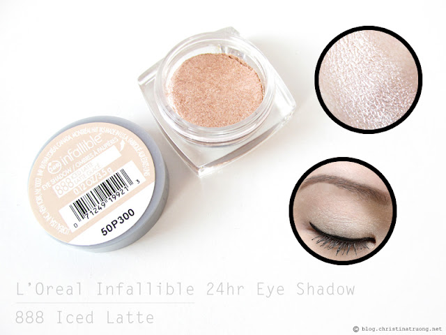 L'Oreal Infallible 24hr Eye Shadow in 888 Iced Latte Review and Swatch