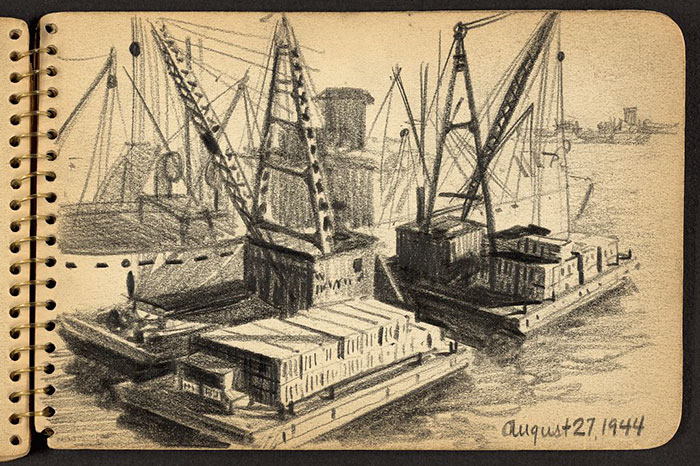 21-Year-Old WWII Soldier's Sketchbooks Show War Through The Eyes Of An Architect - Barges With Containers Being Loaded To Or Unloaded From Ship In New York Harbor