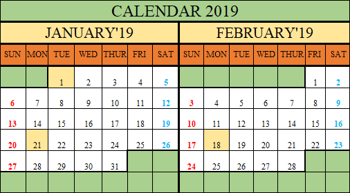 Free Printable 2019 Calendar in Excel