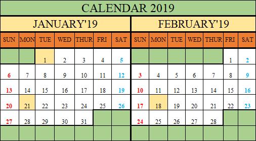 Free Printable 2019 Calendar in Excel