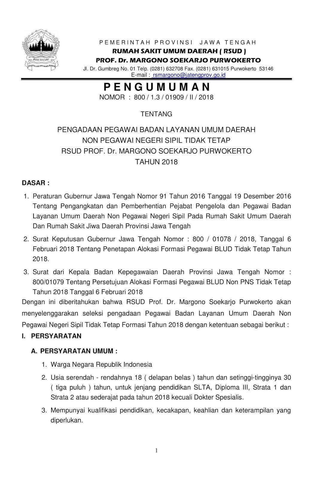 Lowongan Kerja  Rekrutmen Terbaru Non PNS RSUD Prof. Dr. Margono Soekarjo Besar Besaran [84 Formasi]  Oktober 2018