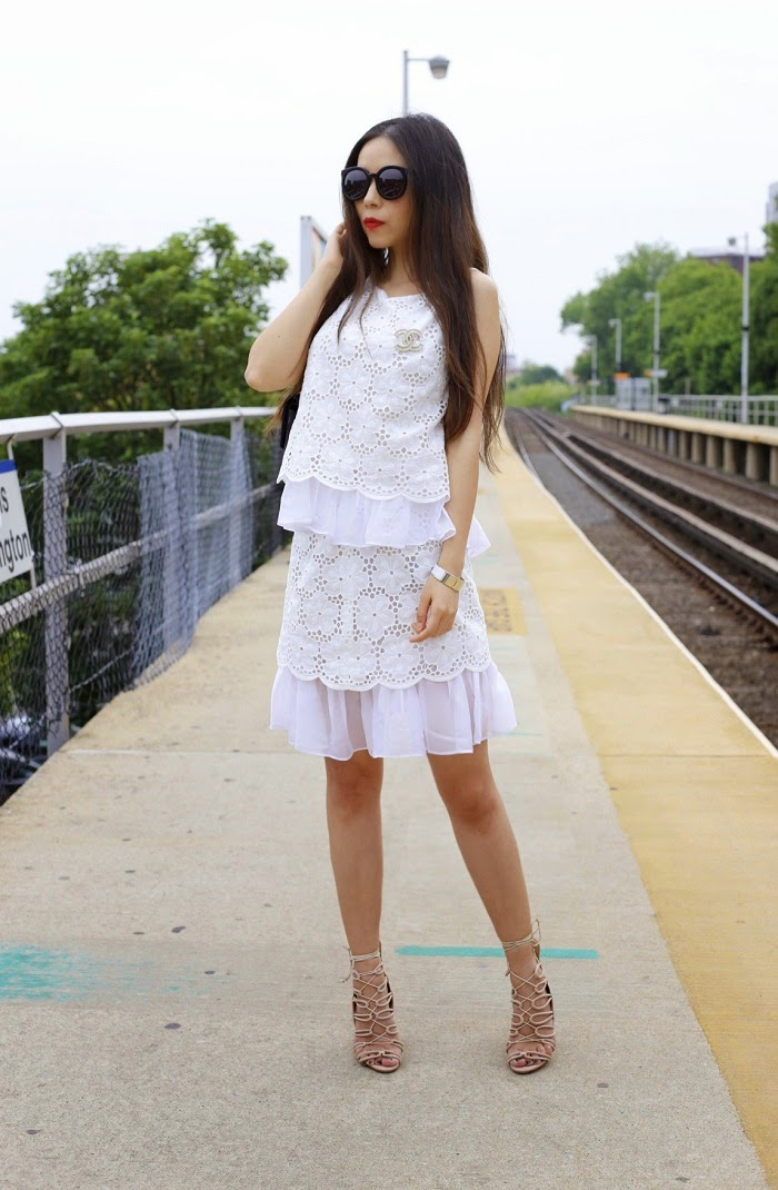 lace top and matching skirt outfit, matchy matchy outfit, schutz lace up sandals, nude lace up sandals, nyc, fashion blog, ny streetstyle, chanel classic flap bag, hermes bracelet, karen walker super duper sunglasses, memorial day sale