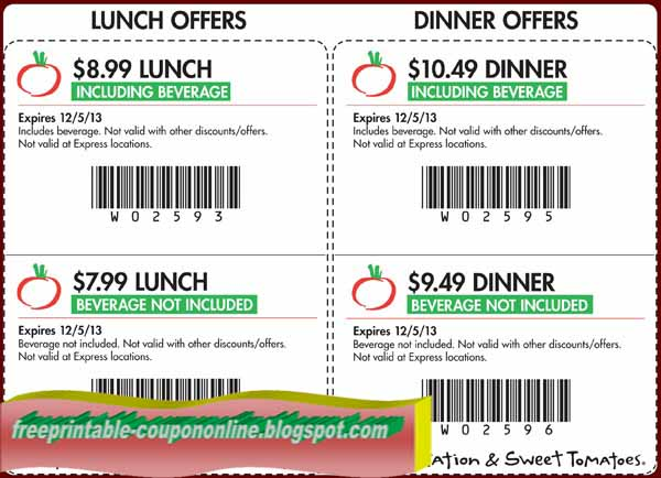 Jun 19,  · All Sweet Tomatoes and Souplantation coupons. Lunch for 20% off and Dinner for $ You can show the coupons on your mobile smartphone or have it printed out. Bookmark this page! Best Offer - Sign up for the Newsletter and they will send you a 20% off coupon instantly - Lunch for $ - Lunch with Beverage for $ - Dinner with Beverage 4/5(20).