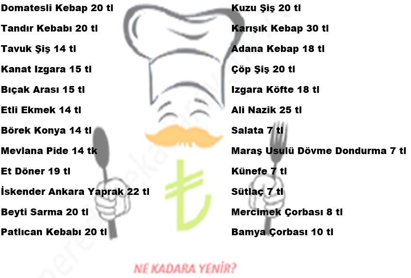42 konyalı hacı usta menü fiyat listesi