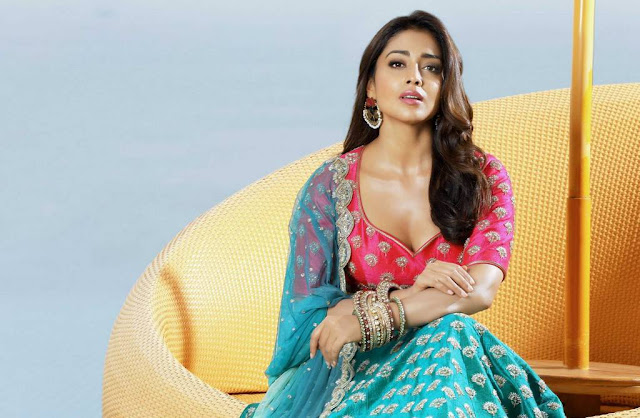 Shriya Saran Dark Pink And Cyan Lehenga Choli Photo Shoot Stills