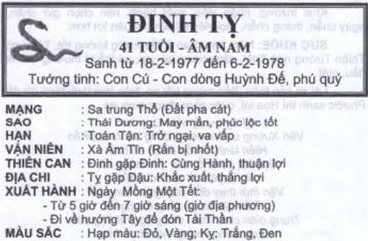 TỬ VI TUỔI ĐINH TỴ 1977 NĂM 2017