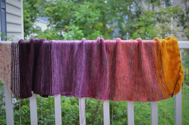 Simple garter stitch shawl, great for beginners, knit with Hawthorne from Knit Picks