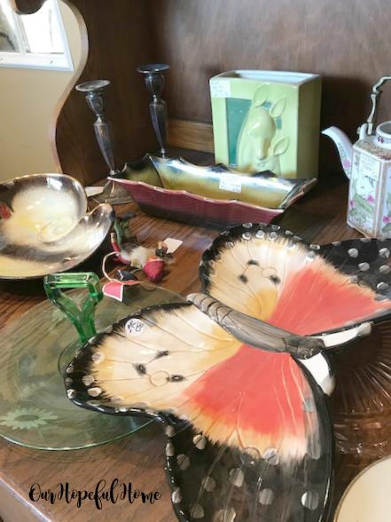 vintage butterfly pottery