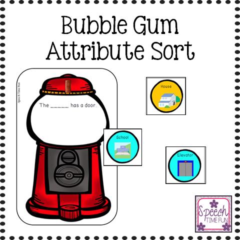 bubble gum attribute sort speech time fun speech and language activities. Black Bedroom Furniture Sets. Home Design Ideas