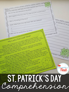 St. Patrick's Day Reading Comprehension- fictional passages with follow up comprehension activities