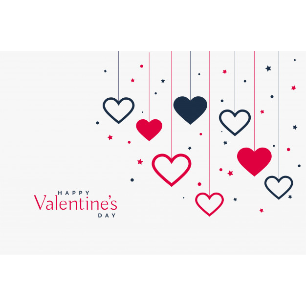 Stylish hanging hearts background for valentines day Free Vector