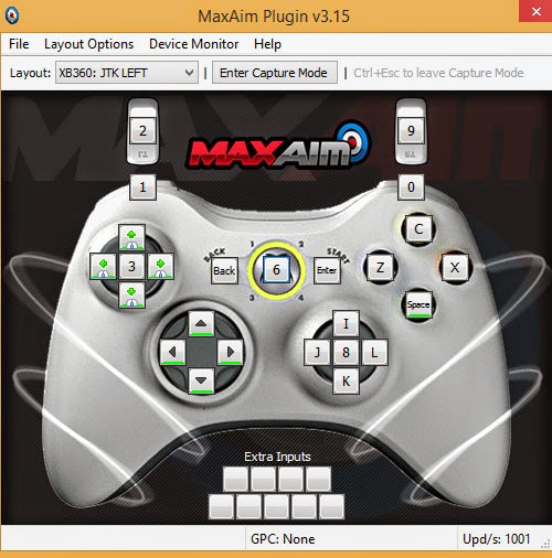 MaxAim: Xbox 360 set-up.