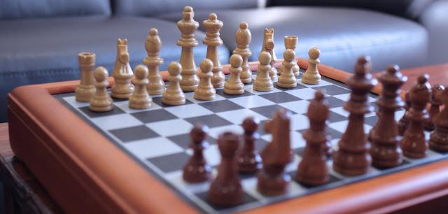 Diagonal view of a chess set