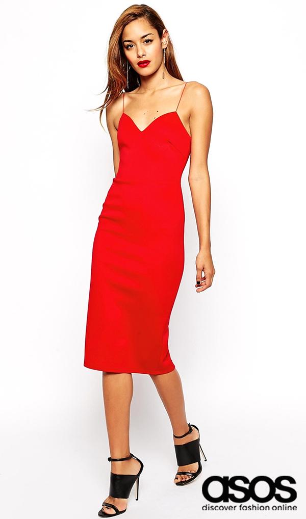 Robe courte rouge fines bretelles longueur midi : Asos