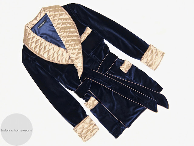 Men's velvet smoking jacket robe blue gold gentleman's quilted silk dressing gown warm