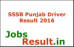 SSSB Punjab Driver Result 2016