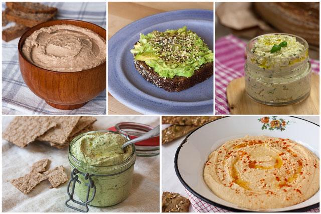 Slani namazi - domaći humus, mliječni namazi sa začinskim biljkama, pašteta od tune - kolaž