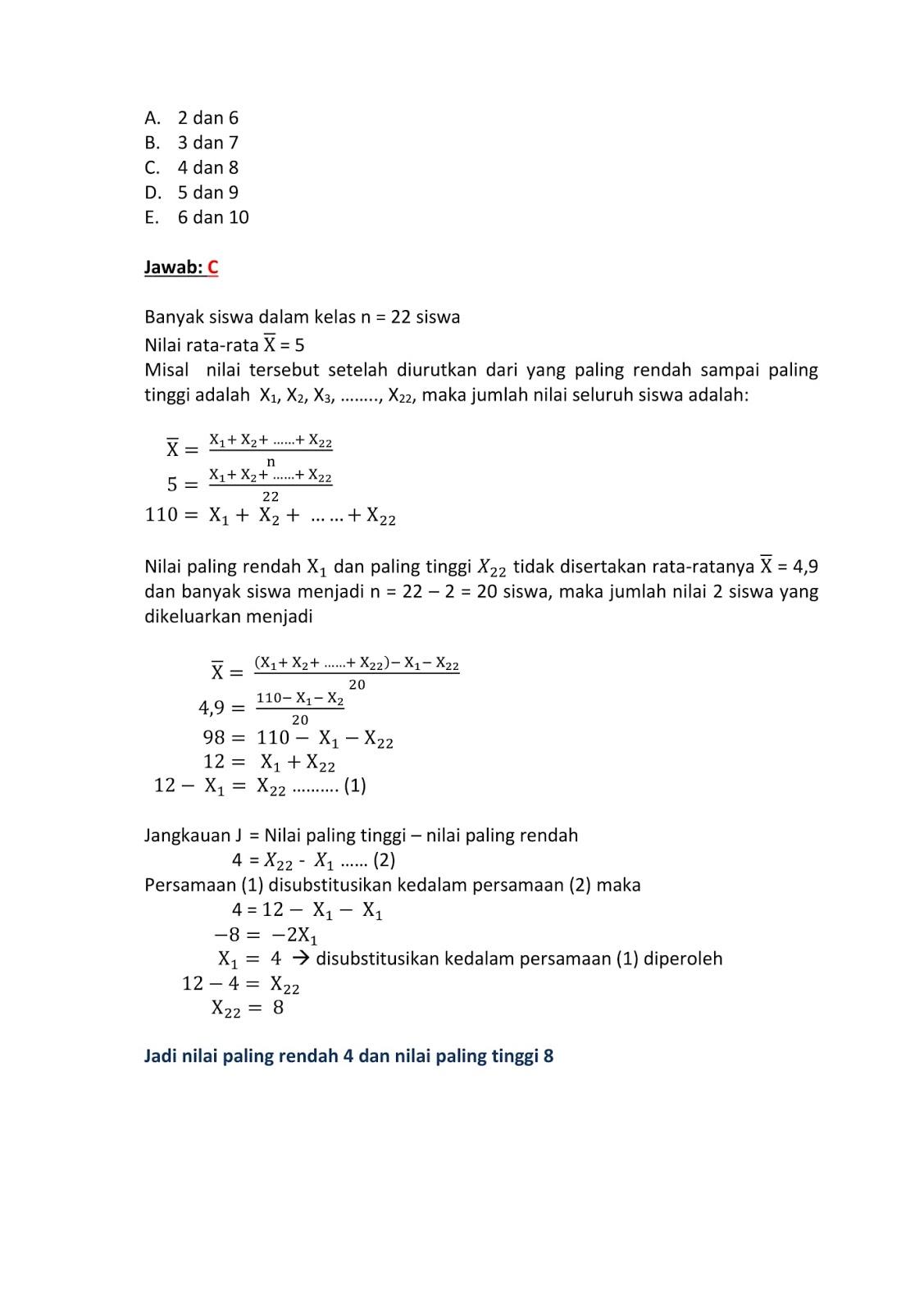 Contoh Soal Statistika Dan Pembahasannya Kelas 12 Kumpulan Soal Pelajaran 10