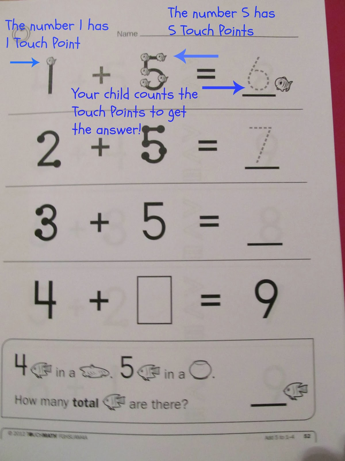 Addition With Touch Points Worksheets