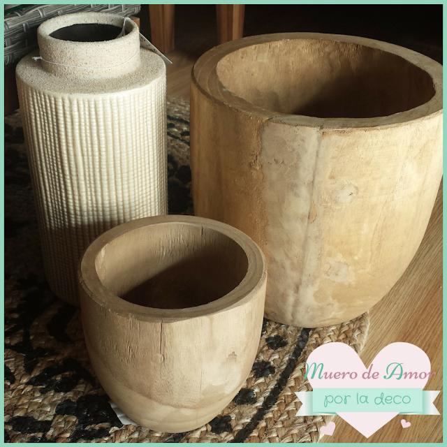 Macetas y jarrones de cerámica y madera natural-VERDECORA-BY ANA OVAL