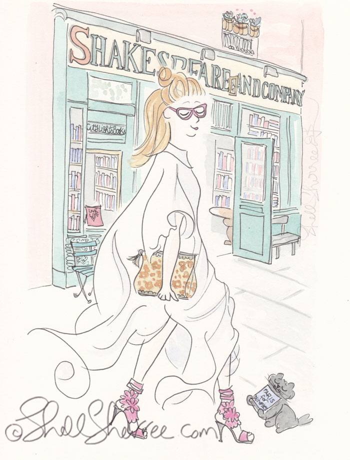 Paris Illustration Shakespeare & Co & Fashionista © Shell-Sherree