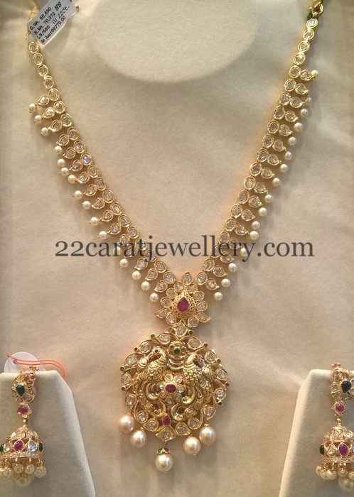 80 Grams Pachi Mala With Jhumkas Jewellery Designs