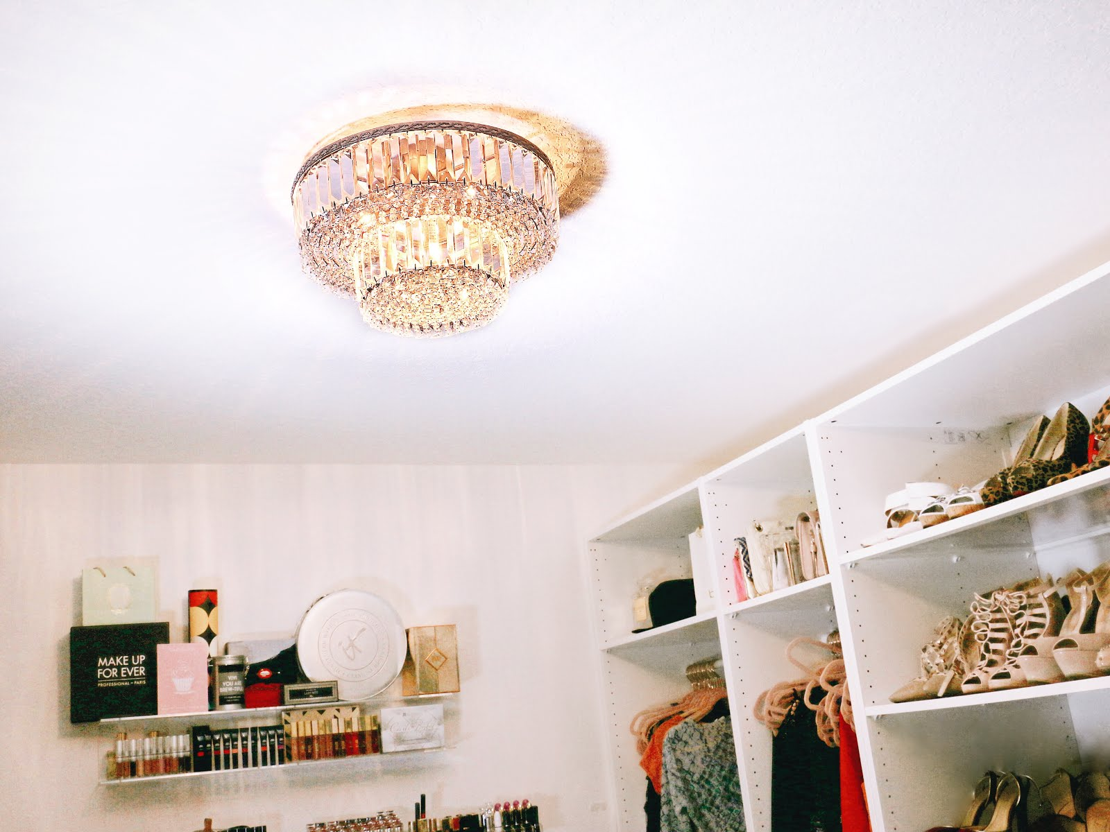 Completing my glam room with a beautiful chandelier from lamps plus