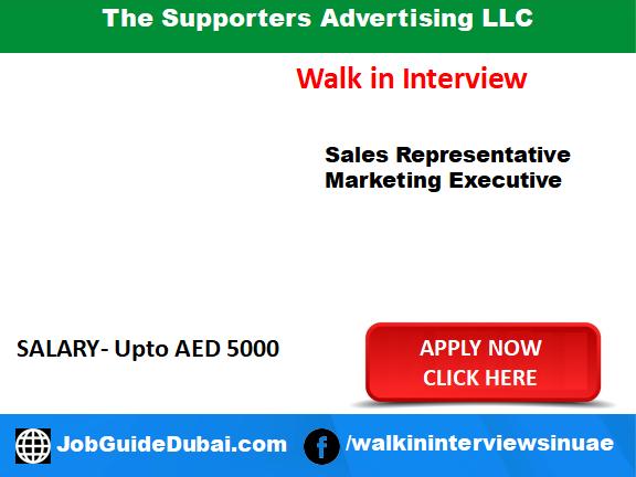 Job in Dubai for sales representative and marketing executive
