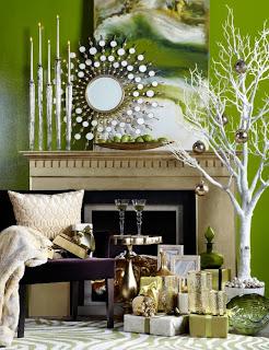decorar navidad blanco verde