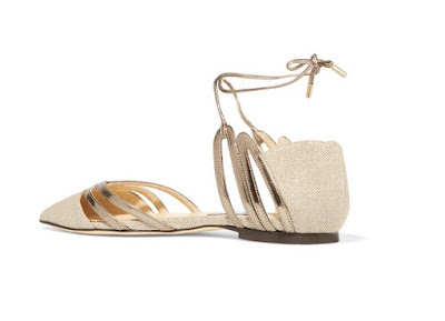 jimmy choo nude and gold cutout canvas and mirrored-leather point-toe flats