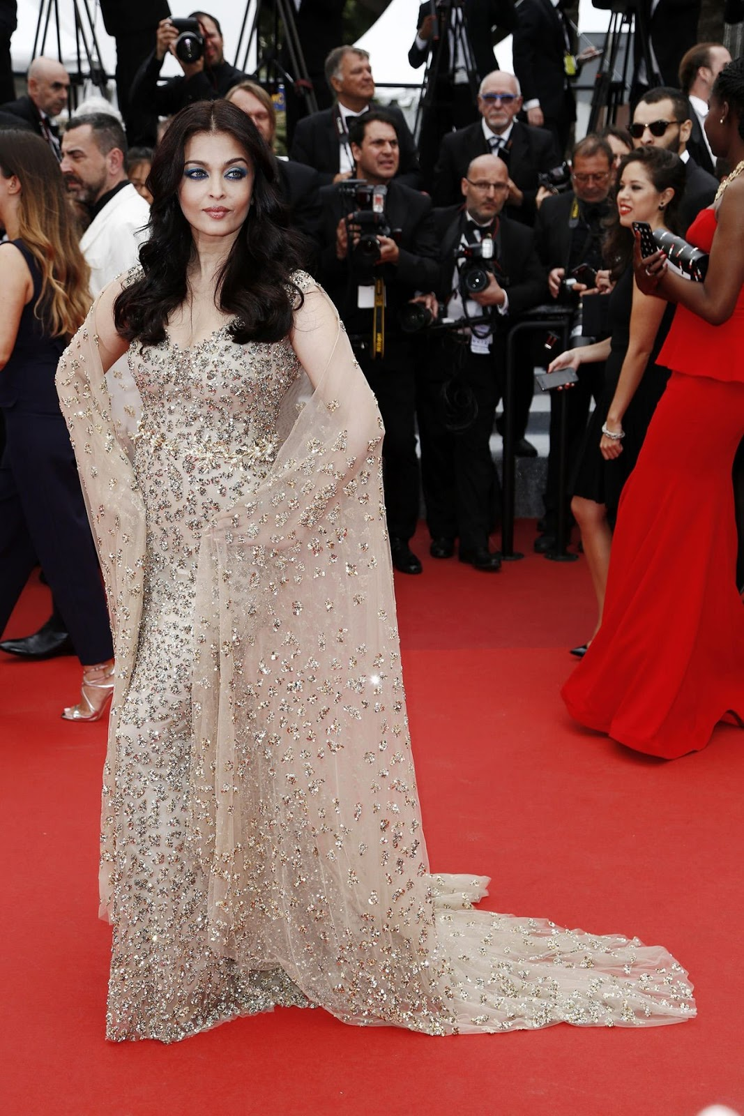 Aishwarya Rai at the Cannes Film Festival in an embellished gown and cape